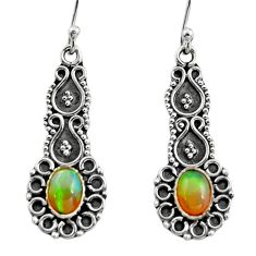 925 silver 3.22cts natural multi color ethiopian opal dangle earrings r14904