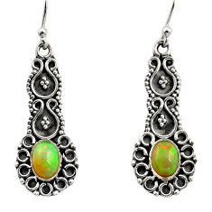 3.22cts natural multi color ethiopian opal 925 silver dangle earrings r14906
