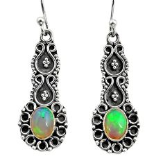 3.32cts natural multi color ethiopian opal 925 silver dangle earrings r14907