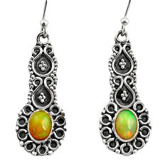 925 silver 3.22cts natural multi color ethiopian opal dangle earrings r14908