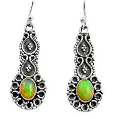 3.22cts natural multi color ethiopian opal 925 silver dangle earrings r14909