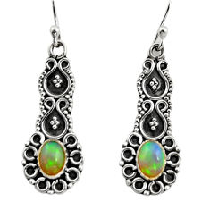 3.11cts natural multi color ethiopian opal 925 silver dangle earrings r14910