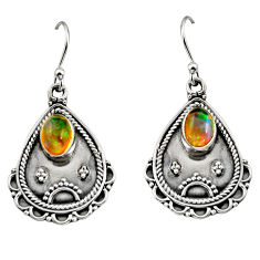 3.41cts natural multi color ethiopian opal 925 silver dangle earrings r14913