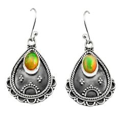 3.41cts natural multi color ethiopian opal 925 silver dangle earrings r14914