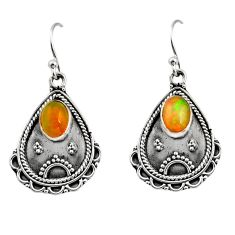 3.58cts natural multi color ethiopian opal 925 silver dangle earrings r14915