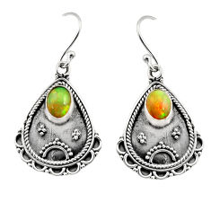 3.58cts natural multi color ethiopian opal 925 silver dangle earrings r14917