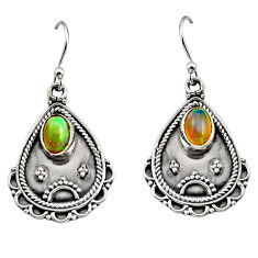 3.41cts natural multi color ethiopian opal 925 silver dangle earrings r14918