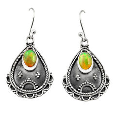 3.40cts natural multi color ethiopian opal 925 silver dangle earrings r14919