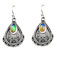 925 silver 3.58cts natural multi color ethiopian opal dangle earrings r14920
