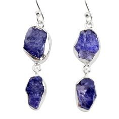 15.16cts natural blue iolite rough 925 sterling silver dangle earrings r14921
