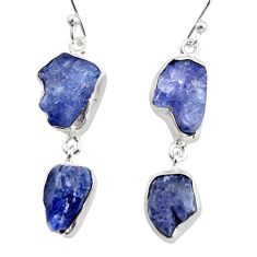 17.67cts natural blue iolite rough 925 sterling silver dangle earrings r14922