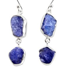 17.36cts natural blue iolite rough 925 sterling silver dangle earrings r14923