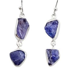 925 sterling silver 13.77cts natural blue iolite rough dangle earrings r14924