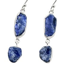 17.67cts natural blue iolite rough 925 sterling silver dangle earrings r14926