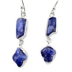 15.97cts natural blue iolite rough 925 sterling silver dangle earrings r14928