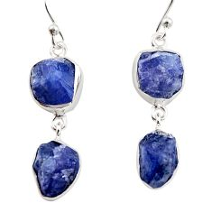 16.46cts natural blue iolite rough 925 sterling silver dangle earrings r14929