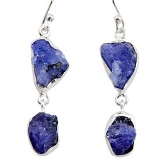 925 sterling silver 16.92cts natural blue iolite rough dangle earrings r14930