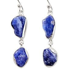 15.47cts natural blue iolite rough 925 sterling silver dangle earrings r14931
