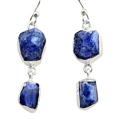 15.16cts natural blue iolite rough 925 sterling silver dangle earrings r14932