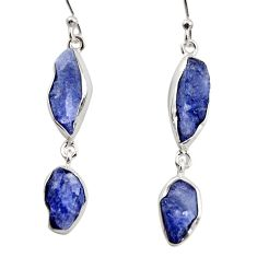 925 sterling silver 15.47cts natural blue iolite rough dangle earrings r14933