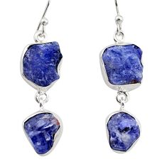 16.92cts natural blue iolite rough 925 sterling silver dangle earrings r14935