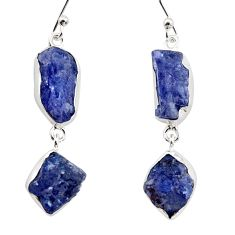 17.67cts natural blue iolite rough 925 sterling silver dangle earrings r14936