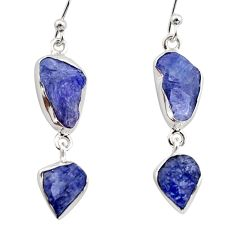 925 sterling silver 12.96cts natural blue iolite rough dangle earrings r14937