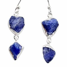 14.72cts natural blue iolite rough 925 sterling silver dangle earrings r14938