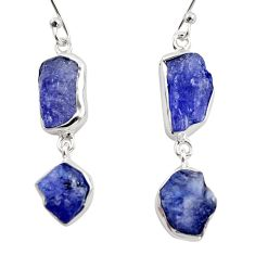 15.97cts natural blue iolite rough 925 sterling silver dangle earrings r14939