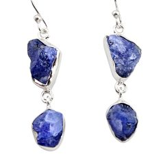 925 sterling silver 13.77cts natural blue iolite rough dangle earrings r14940