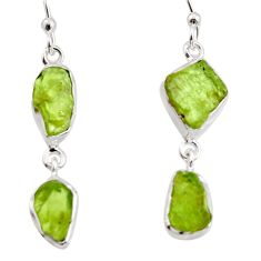 925 sterling silver 12.06cts natural green peridot rough dangle earrings r14944