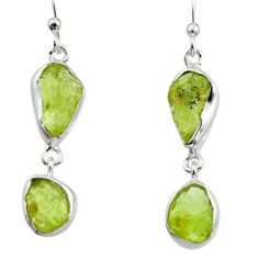 12.08cts natural green peridot rough 925 sterling silver dangle earrings r14953