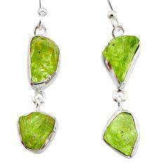 14.26cts natural green peridot rough 925 sterling silver dangle earrings r14957