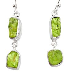 12.06cts natural green peridot rough 925 sterling silver dangle earrings r14958