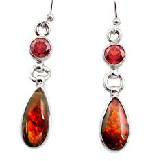 9.53cts natural multicolor ammolite (canadian) 925 silver dangle earrings r15766