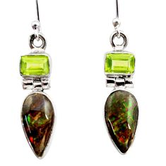 925 silver 8.73cts natural multicolor ammolite (canadian) dangle earrings r15770