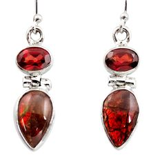 9.61cts natural multicolor ammolite (canadian) 925 silver dangle earrings r15771