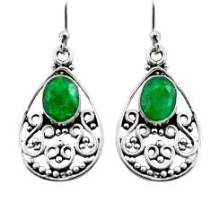4.03cts natural green emerald 925 sterling silver dangle earrings jewelry r15781