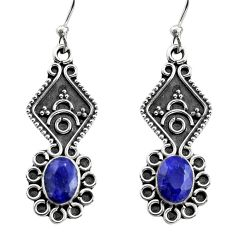 3.32cts natural blue sapphire 925 sterling silver dangle earrings jewelry r15783