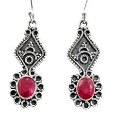 925 sterling silver 3.29cts natural red ruby dangle earrings jewelry r15784