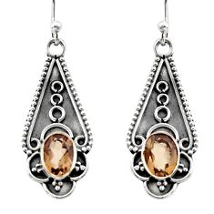 3.29cts brown smoky topaz 925 sterling silver dangle earrings jewelry r15786