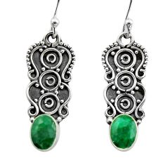 925 sterling silver 3.26cts natural green emerald dangle earrings jewelry r15787