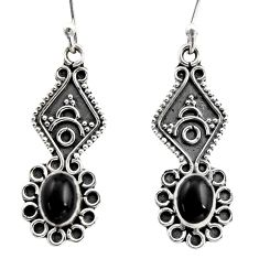 3.50cts natural black onyx 925 sterling silver dangle earrings jewelry r15788