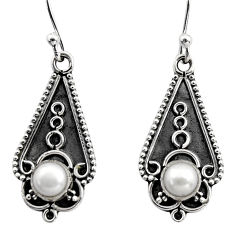 1.81cts natural white pearl 925 sterling silver dangle earrings jewelry r15789