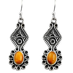 925 sterling silver 3.32cts natural brown tiger's eye dangle earrings r15790