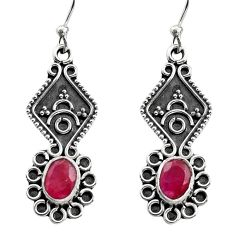 3.32cts natural red ruby 925 sterling silver dangle earrings jewelry r15791