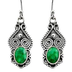 3.29cts natural green emerald 925 sterling silver dangle earrings jewelry r15792