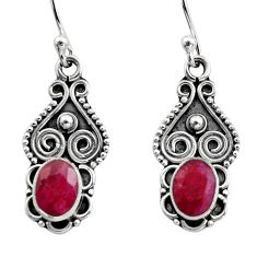 925 sterling silver 3.05cts natural red ruby dangle earrings jewelry r15793