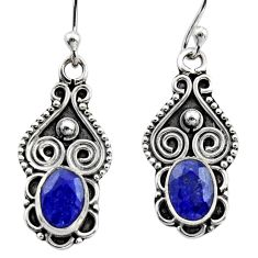3.09cts natural blue sapphire 925 sterling silver dangle earrings jewelry r15794