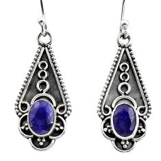 3.29cts natural blue sapphire 925 sterling silver dangle earrings jewelry r15795